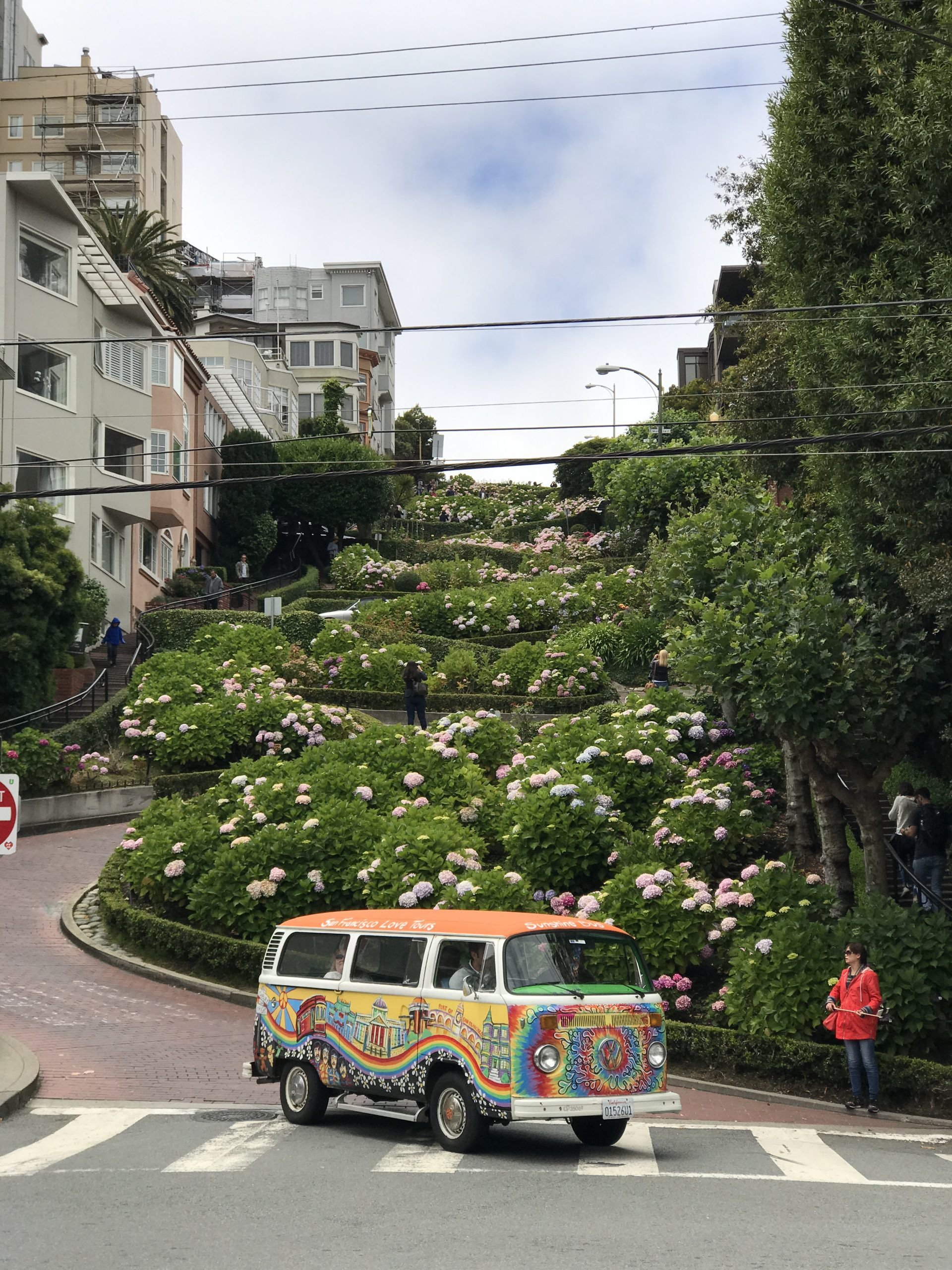 Volkswagon Bus in front of Lombard Streed