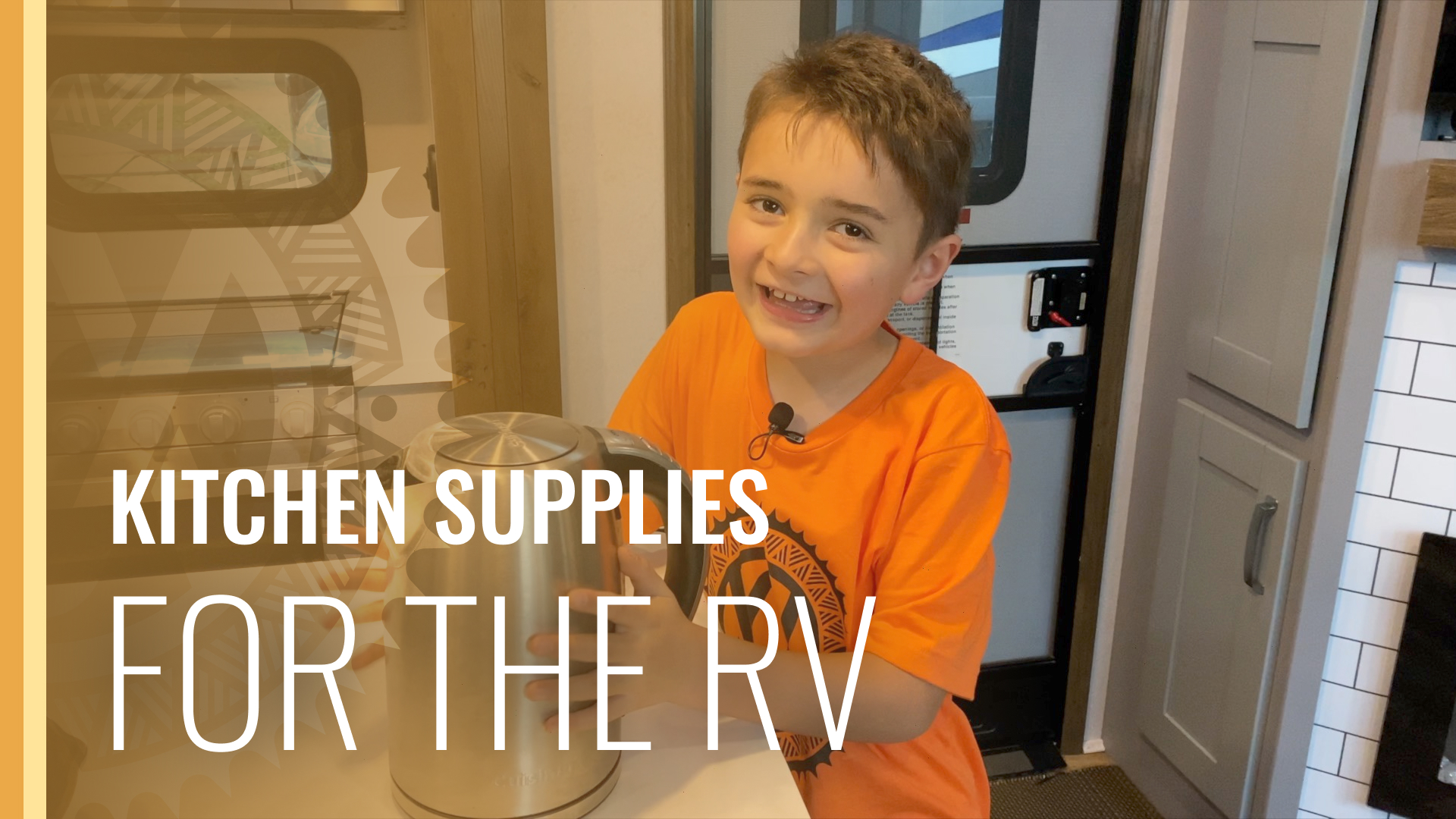 this is a thumbnail for the video. It has a picture of our son holding a kettle Inside of our fusion 427 keystone RV.